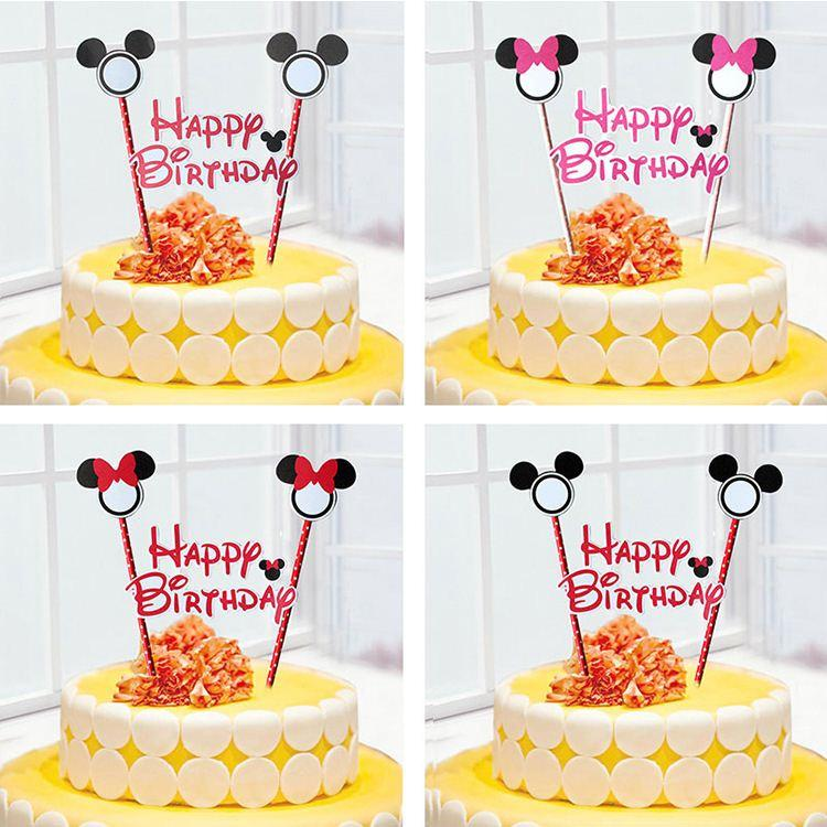 2017 Mickey Happy Birthday Cake Topper Set For Kids Birthday Party
