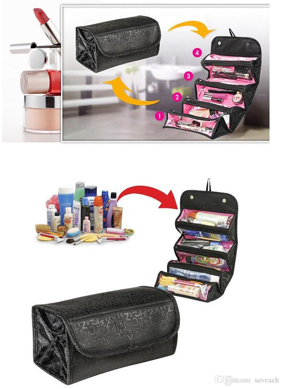 Roll-N-Go Cosmetic Tool Bag, Roll Up Bathroom Organizer, Makeup Tools Bag, Female Women Toiletries Case Jewelry Organizer Zipped Compartment