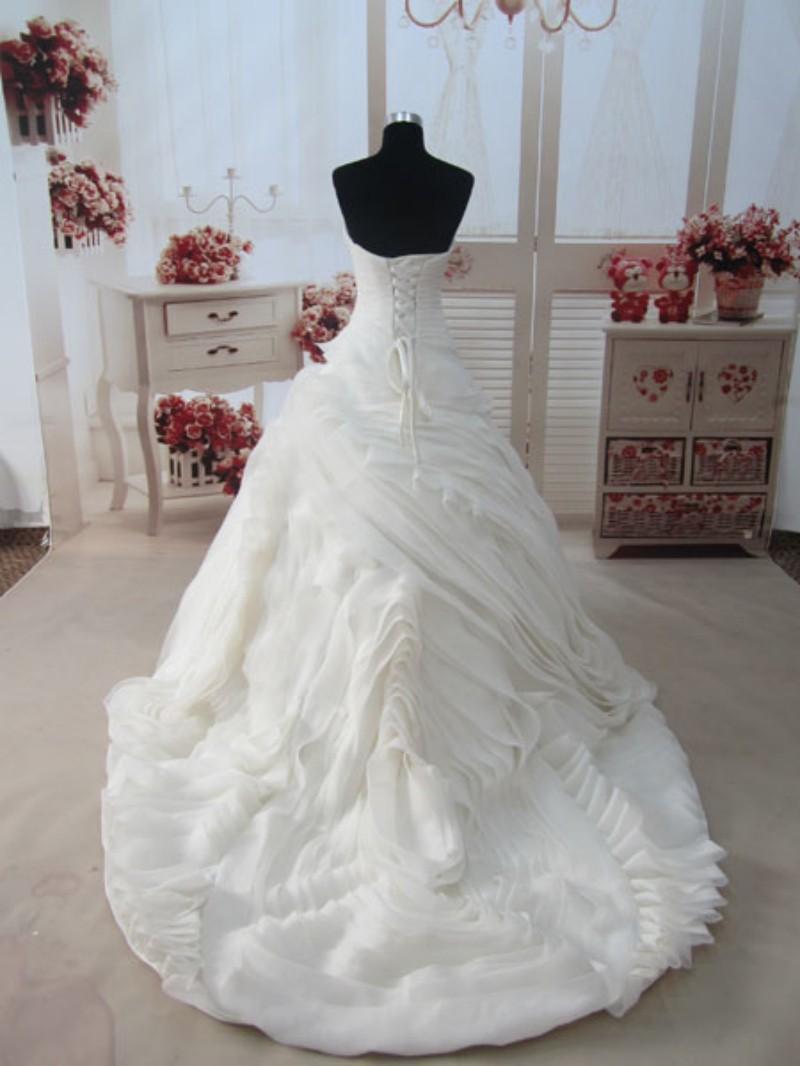 Real Foto Sweetheart Ruffle principessa abito da sposa Corte dei treni Organza Nuovo arrivo