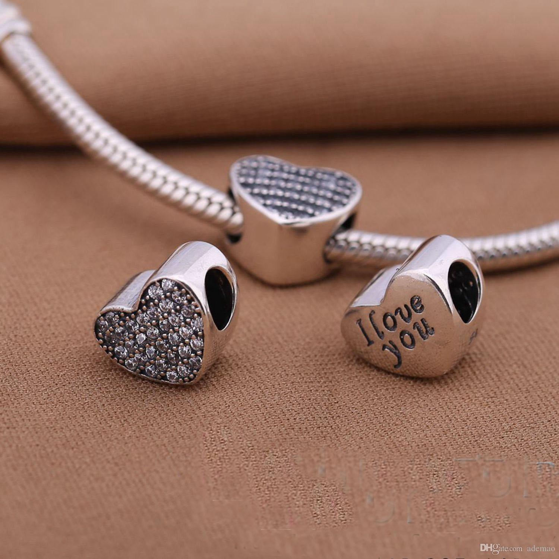 Carta en forma de corazón MÁS NUEVA Li Guohua 1 / plata pura S925 plata de ley pulsera del grano del encanto de lujo joyería de moda europea DIY