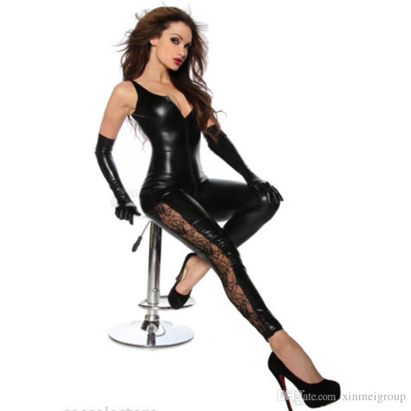 Black Sleeveless Catsuit Hot Sale Women Sexy PU Elastic Faux Leather Sexy Jumpsuit Lace Splice Zipper to Crotch Catsuit W7984