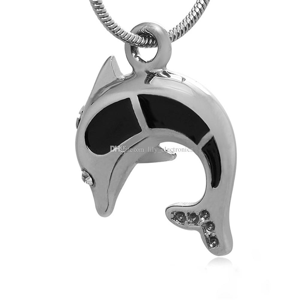 Lily Cremation Jewelry Stainless Steel Waterproof Dolphin Charm Urn Pendant Necklace with gift bag with gift bag and chain