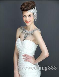 2018 Bohemain Luxury Silver Crystal Rhinestone Shining Shoulder Necklace Epaulet Jacket Wedding Bridal Dresses Shoulder Jewelry