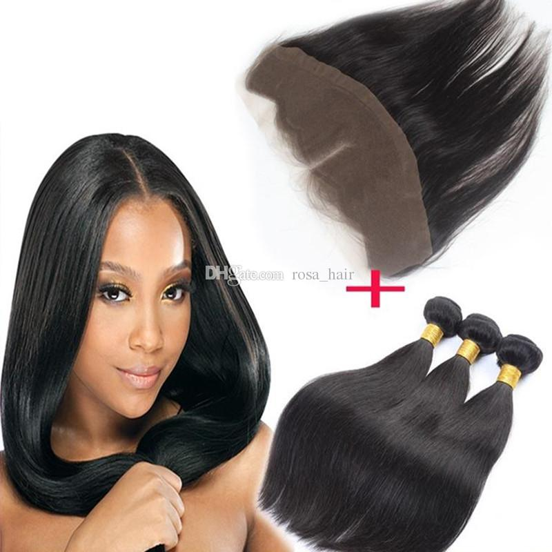 Cheap Brazilian Straight Hair Bundles With Ear To Ear Lace Frontal