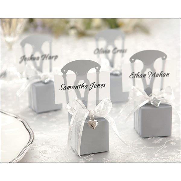 100 sztuk Srebrny Krzesło Bomboniere Candy Box Pudełko Ślub Prezent na gorąco ze wstążką Wybierz kolor lub złoto