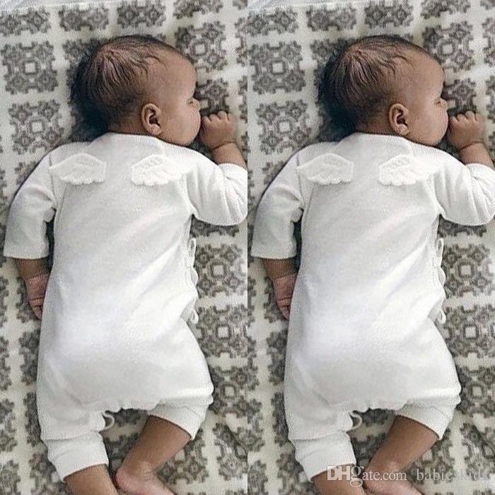 Niño recién nacido de ropa de niños Niño Niña Volver Alas mono del mono del mameluco del traje de manga larga Set Mono con el ala en la parte posterior Alas