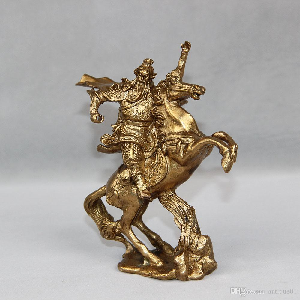China Brass Famous Dragon Warrior GuanGong Guan Yu Warrior God Ride Horse Statue home decoration