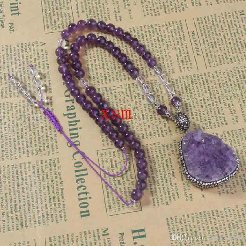 2016 New Arrival, Hot Selling Fashion Amethyst Druzy Short Sweater Chain Pendant Necklaces For Women