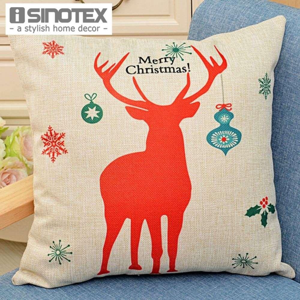 christmas moose printed cushion 4343cm1717 linen polyester decorative home decor cojines 24x24 patio cushions patio pillows on sale from lin8858 - Christmas Moose Home Decor