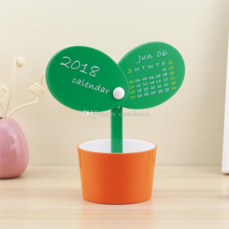 Novelty Table Calendar Bud Flowerpot Shaped Mini Desk