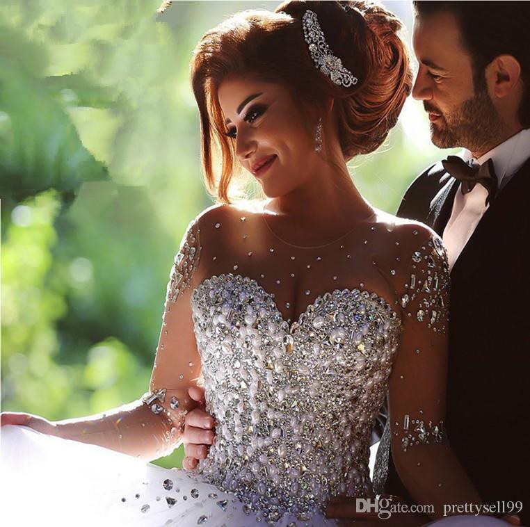 Manga longa vestidos de casamento Vintage 2019 com cristais strass Backless Bola de Vestido de Noiva Vestido Quinceanera Vestidos de noiva Vestidos