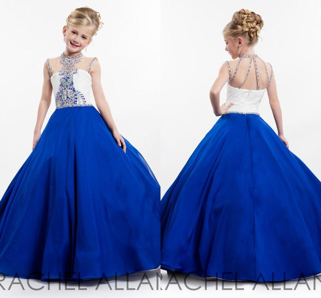 New Girls Pageant Dresses Jewel Sleeveless Princess Crystal Beading Royal  Blue Chiffon Kids Flower Girls Dress Birthday Gowns Girls Maxi Dress Girls  Summer ... 61ca338ebc8f