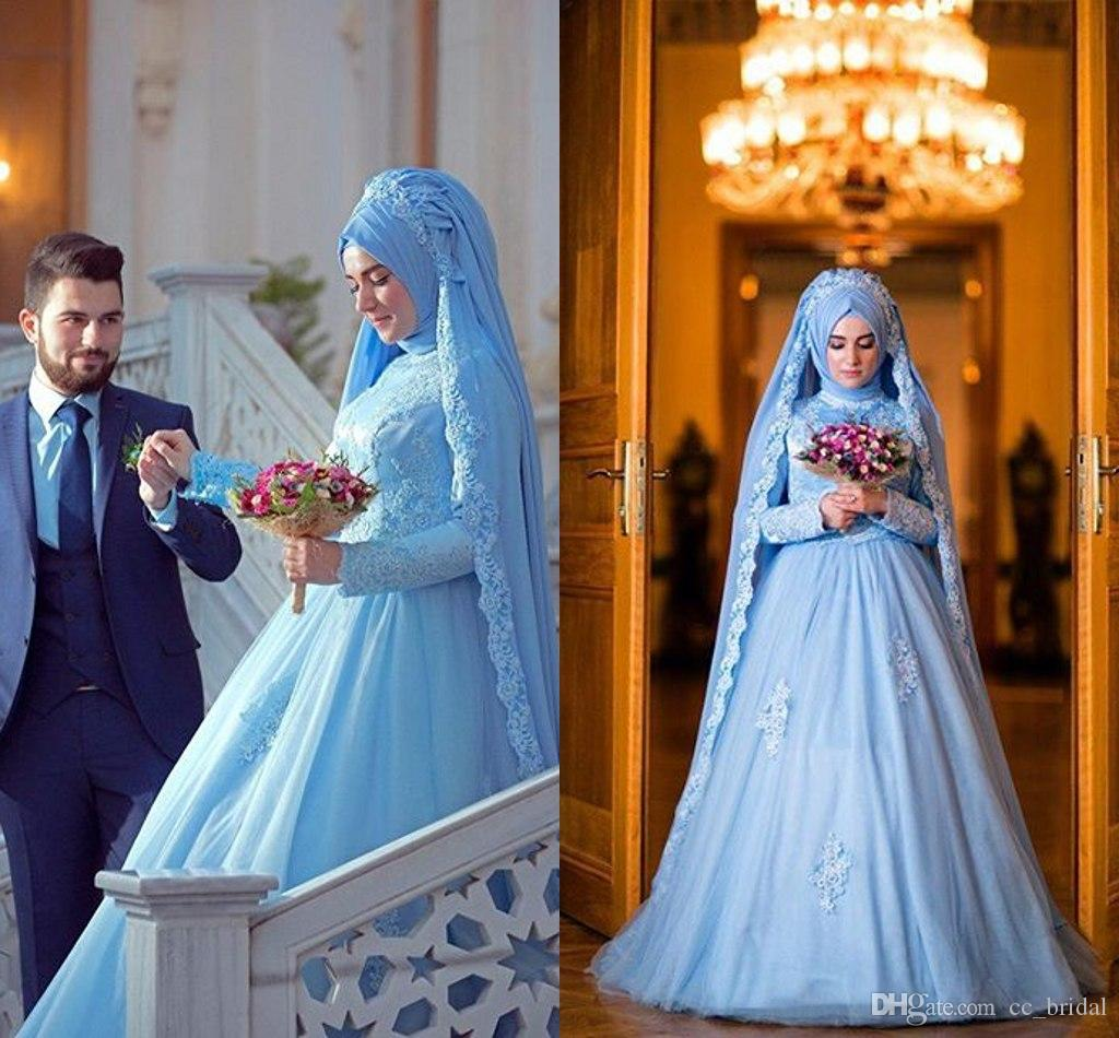Elegant Long Sleeve Muslim Dress For Wedding With Hijab Gelinlik ...