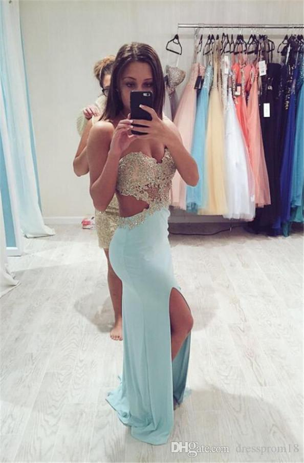 85b9f2bc940 Sexy Blue Cutout Waist Slit Prom Dress 2016 With Lace Appliqued Top  Straplss Gold Lace Top Fitted Slim Evening Gown Prom Dresses With Lace  Purple Prom ...