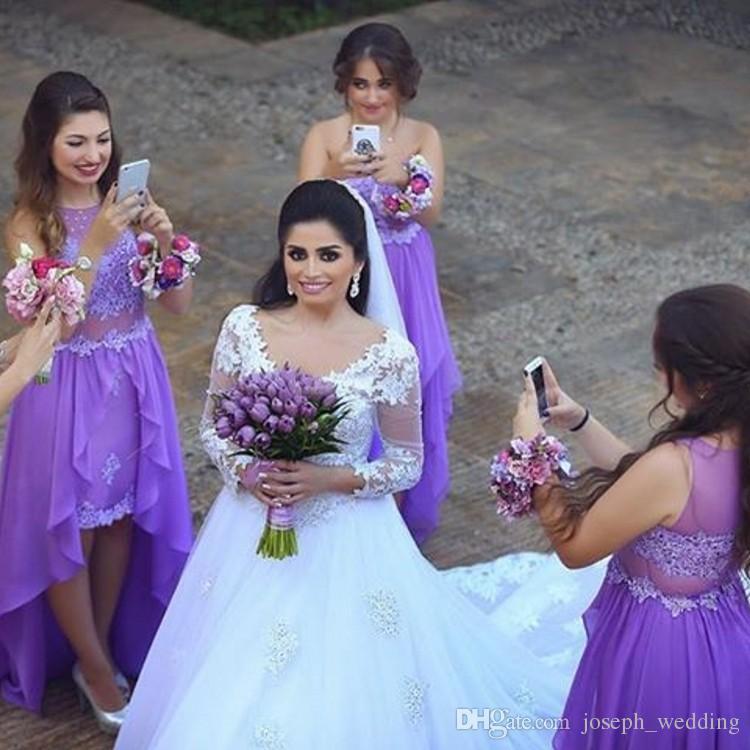 2016 Bridesmaid Dresses Long Chiffon Sheer Back Appliques High Low ...