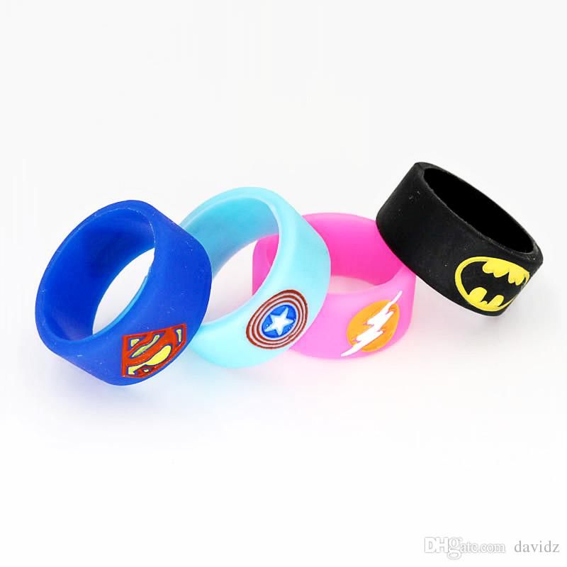 Superman Batman Captain America Flash Silicone Vape Band Engraved Logo Silicon Beauty Decorative Ring for Glass Tanks Rba Rda Vapor Mod