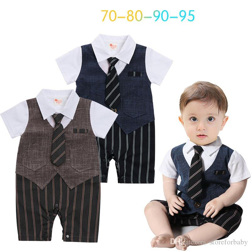 2e86c77b9f03 2018 Summer Gentlemen Rompers Baby Boy Summer Clothes Infant Boys ...