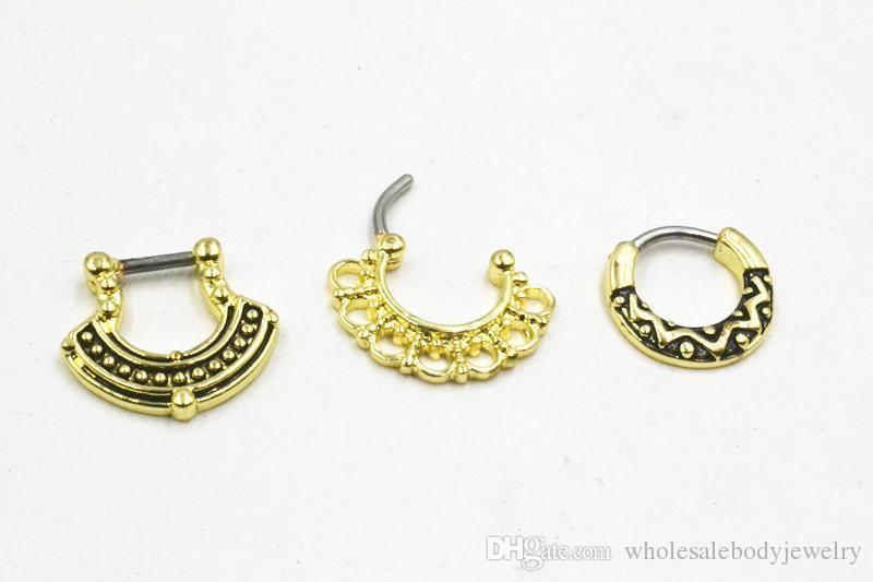 À La Mode Nez Septum Clicker Anneaux Corps Piercing Bijoux En Acier Inoxydable Bar Nez Ouvert Cerceau Anneau Nez Piercing 14g 16g