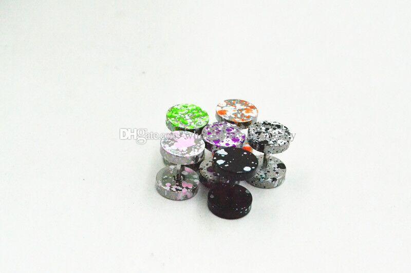 Livraison Gratuite Bijoux De Corps- Nouvelle Couleur Points 16g ~ 1.2mm Faux Bouchon D'oreille Cheat Illusion Plugs 6mm 8mm 10mm 12mm