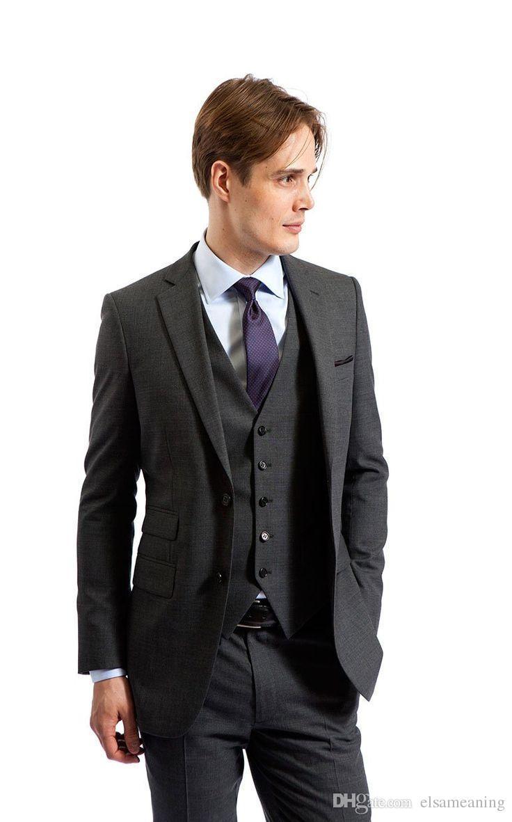 Custom Made grey wedding suit two piece suits men tuxedo groom wear formal tailor suit Jacket+Pants+Vest