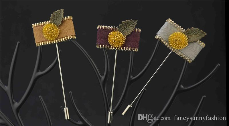 luxury flower brooch lapel pins handmade boutonniere stick with gold-plated ball and bronze leaf and zipper for gentleman suit price cheap