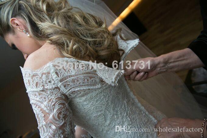 Vestidos De Noiva Весна Романтический Аппликация Кружева Свадебные платья в стиле ретро с длинными рукавами линия свадебное платье Пляж Свадебные платья Мантия CPS297