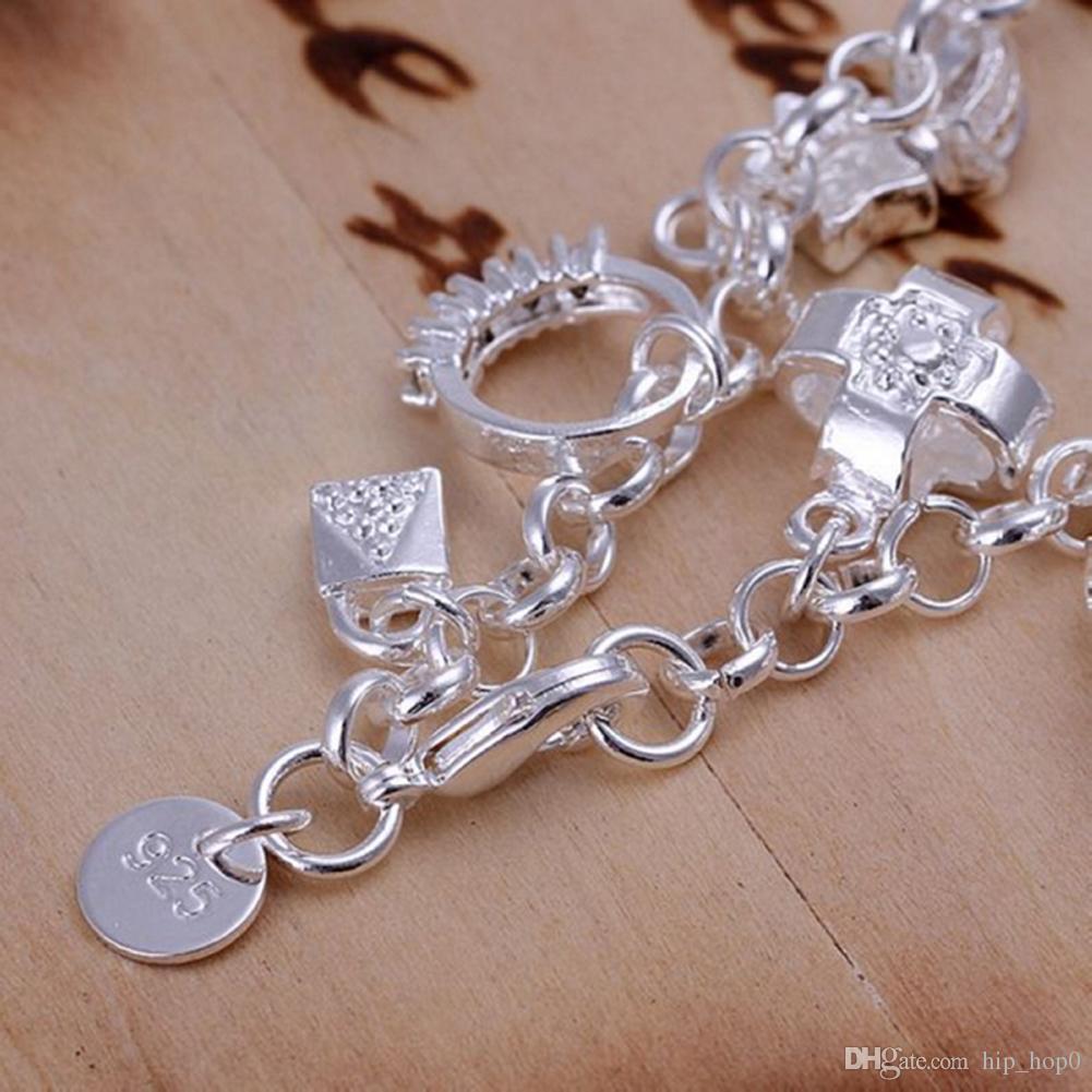 13 Charms 925 Sterling Silber Armband Kreuz Ball Lock Key Mond Ring Herz Stern Blume Cube Zirkon Charms Armband Schöne Schmuck Billig