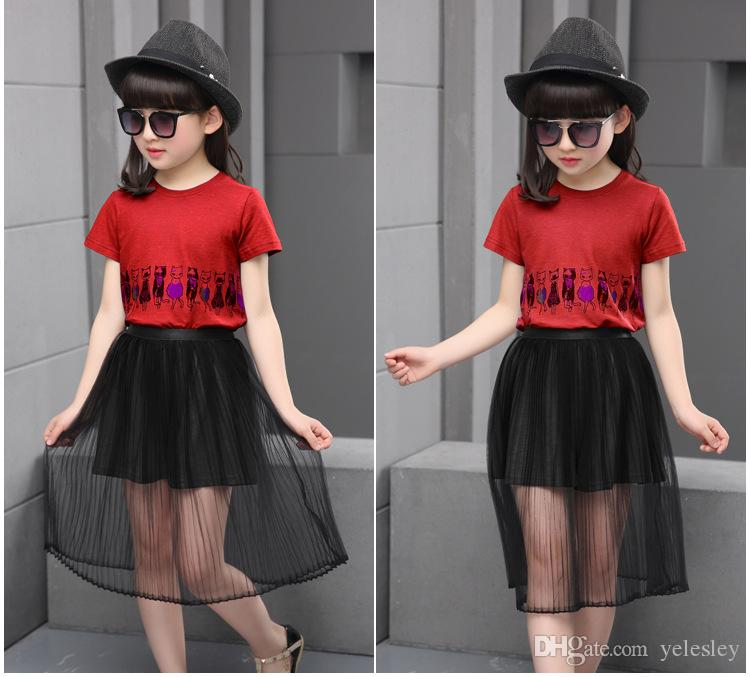 The new children suit leisure clothes for girls with short sleeve hot sale girls birthday Tshrit skirt Set Girls T Shirt