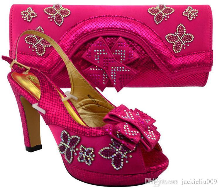 Alta qualidade rosa sapatos africanos jogo saco de jogo com strass senhora sapatos bowtie e bolsa MM1031, calcanhar 11.5 CM