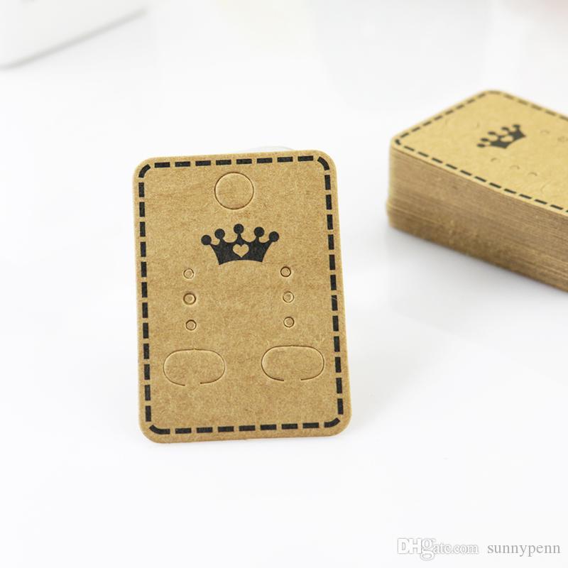 200 قطعة / الوحدة بالجملة الأزياء والمجوهرات الأذن ترصيع التغليف عرض علامة سميكة كرافت ورقة حلق cardTags 4.5 * 3.2 سنتيمتر بطاقة عرض مجوهرات