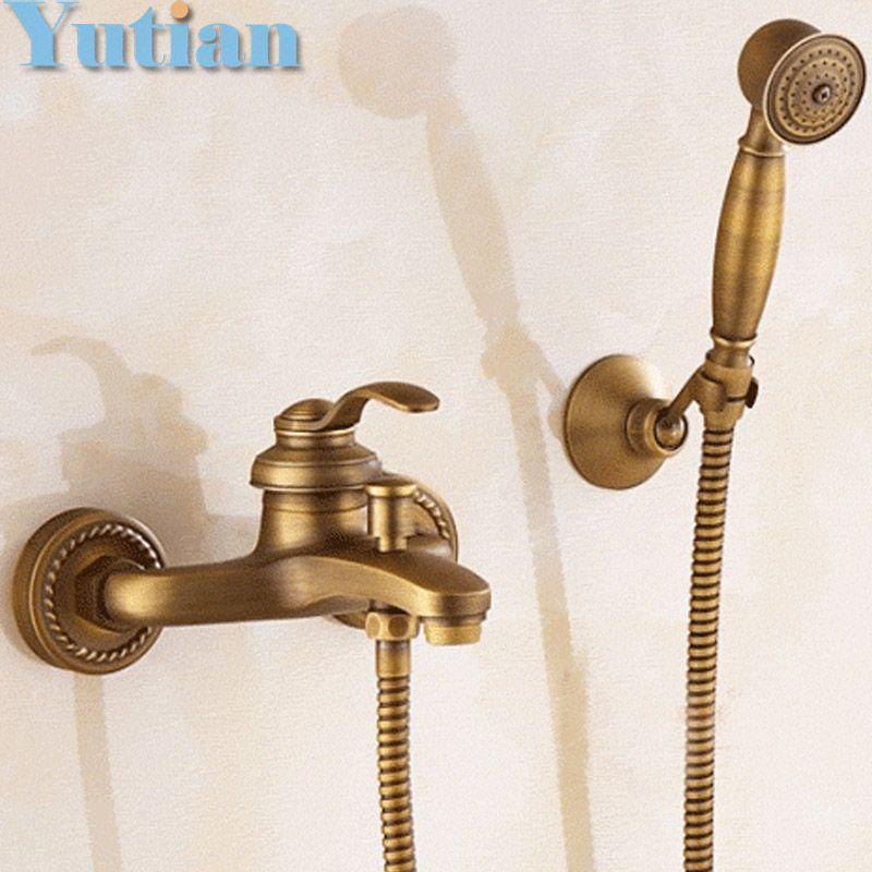 2018 Bathroom Bath Wall Mounted Hand Held Antique Brass Shower Head ...