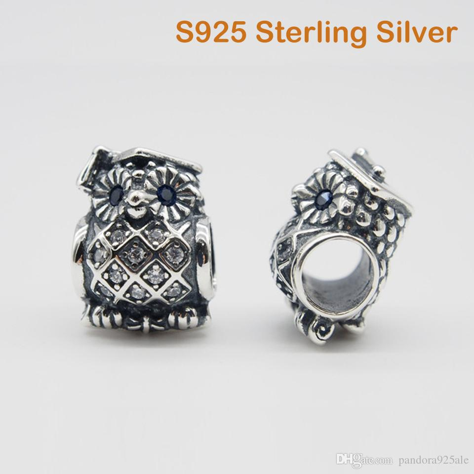 21b8af67a 2019 Fits Original Pandora Bracelets & Bangles & Necklaces OWL GRADUATE  CHARM DIY Beads Real Solid 925 Sterling Silver Not Plated From  Pandora925ale, ...