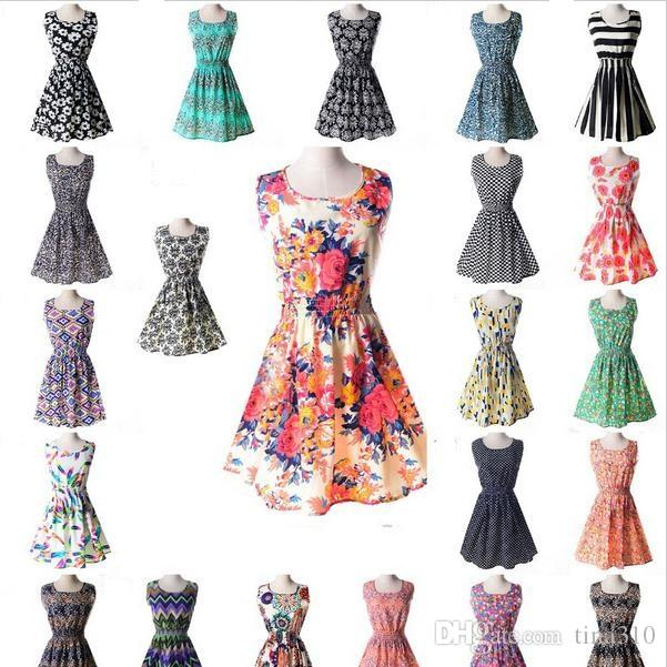 Newest fashion Women Casual Dress Plus Size Cheap China Dress 19 Designs Women Clothing Fashion Sleeveless Summe Dress Free Shipping