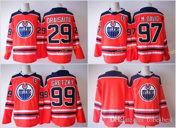 be8c6aa4b ... 2017 2018 New Brand Edmonton Oilers Jersey 29 Leon Draisaitl 97 Connor  McDavid 99 Wayne Gretzky Edmonton Oilers 29 Leon Draisaitl White Name Number  ...
