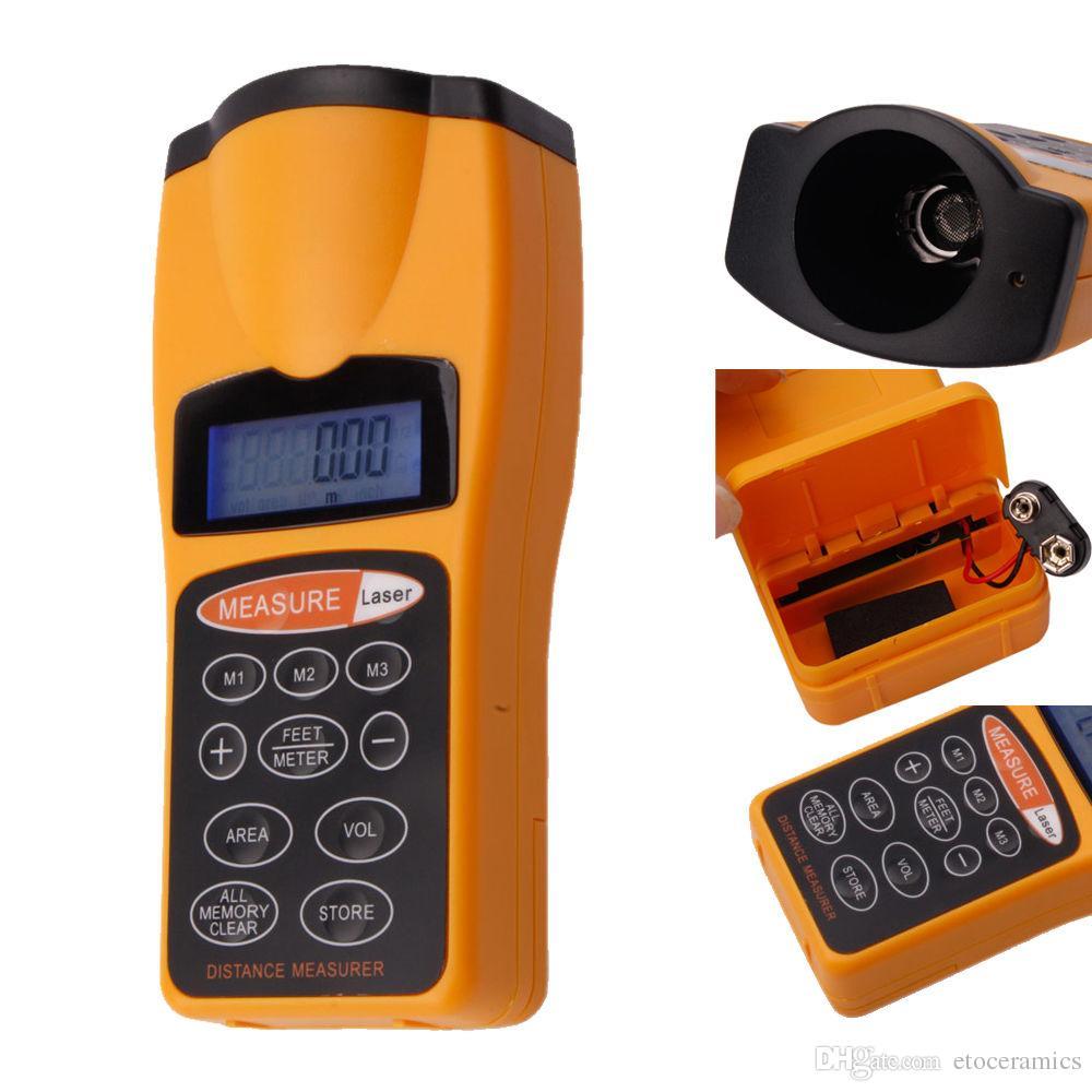 Medidor ultrasónico de medición de distancia con puntero láser Nuevo puntero ultrasónico LCD Telémetros láser Medición de distancia
