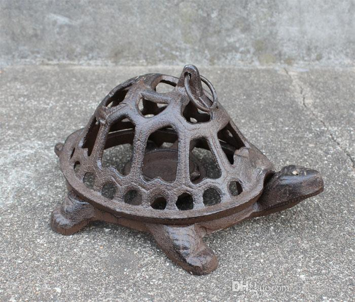 Cast Iron Turtle Candle Holder Rustic Metal Wrought Animal Country Rural Home Desk Table Decoration Antique Gift Black Lantern