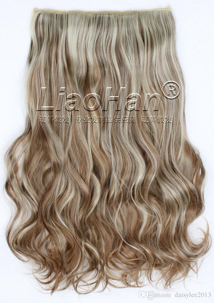 Long Curly Brown Mixed Blonde Hair Highlight Clip In Synthetic Hair