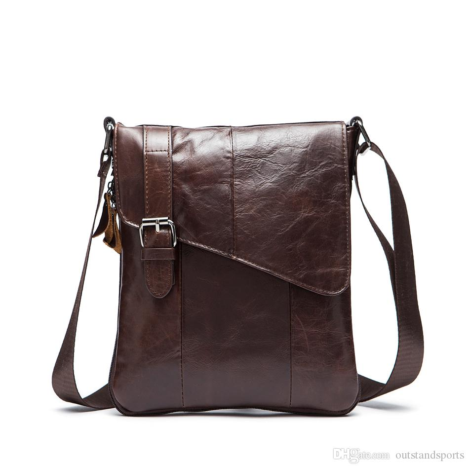 genuine leather day bag 8240 Top layer cow leather one shoulder diagonal vertical day packs OEM available