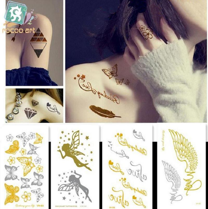 10.5*6cm Temporary fake tattoos Waterproof tattoo stickers body art Painting for party decoration etc mixed golden color angel butterfly
