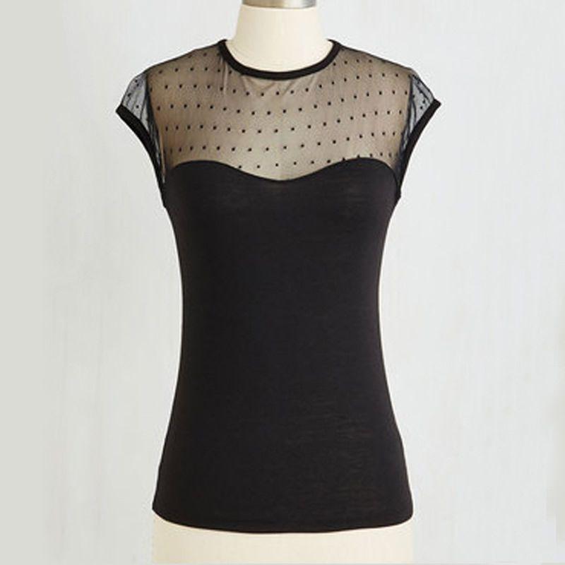 Frauen Rockabilly Schwarz Pin up Top Retro Vintage 50er Jahre Lace Sheer Top T Shirt