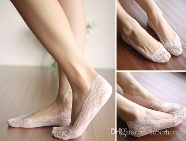Chaussettes basses pour femmes sexy Fashion Lady Floral Lace Pantoufles antidérapantes à la cheville chaussettes chaussettes de ballet Bonneterie Divers Couleurs