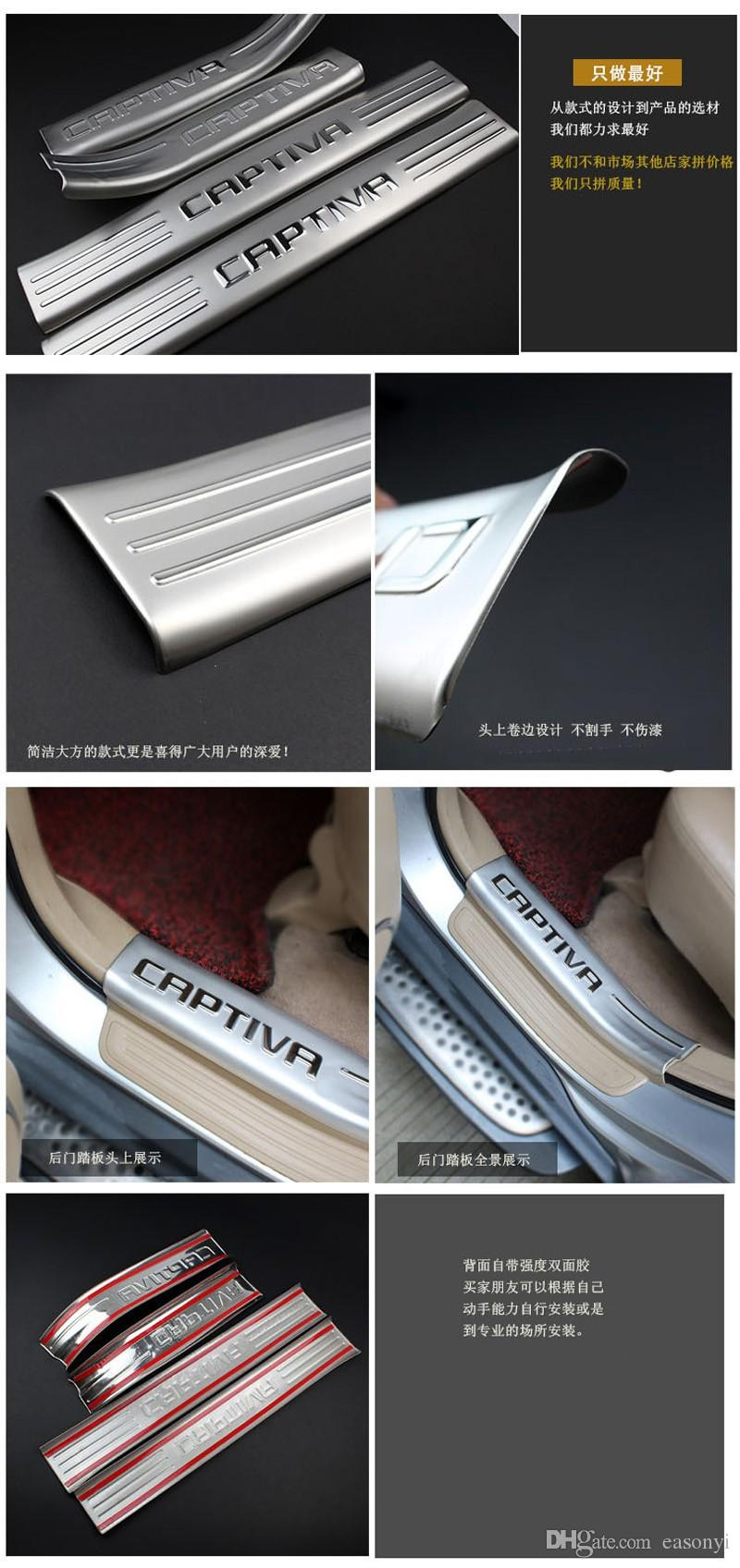 Interior de acero inoxidable + Exterior Puerta Sills placa del desgaste para el año 2012 2013 Chevrolet Chevy Captiva Umbral Recorte accesorios del coche