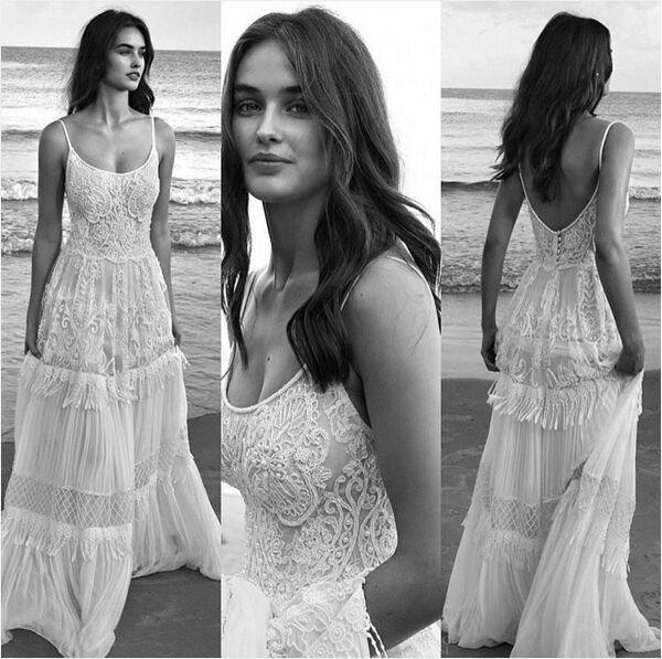 Lihi Hod 2019 새로운 패션 빈티지 여름 휴가 해변 레이스 웨딩 드레스 스파게티 Backless Boho Bohemain 라인 웨딩 드레스