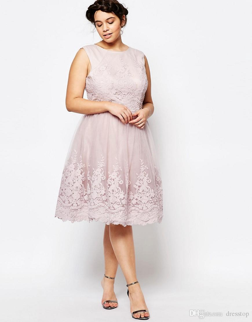 Classy Lace Appliqued Plus Size Prom Dresses Jewel Neckline A Line Backless  Formal Dress Knee Length Tulle Evening Gowns Plus Size Juniors Plus Size ...