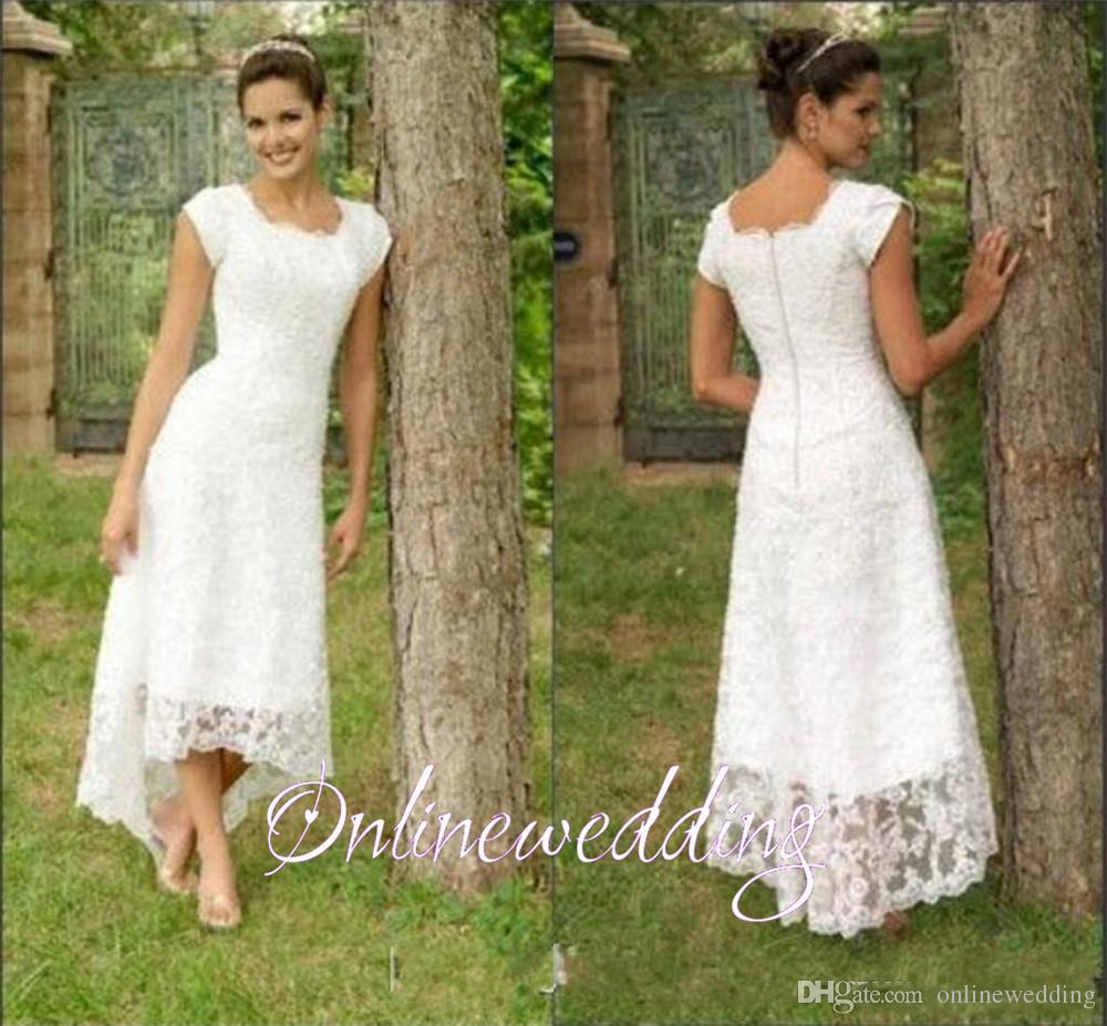Vintage Short Hi Lo Wedding Dresses Tea Length 2016 Full ...
