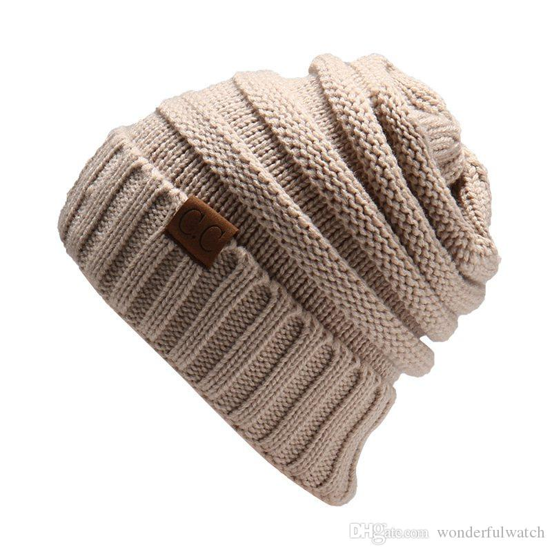 Unisex CC Trendy Hats Winter Knitted Beanie Label Winter Knitted Wool Cap Unisex Folds Casual CC Beanies Hat Solid Hat F21