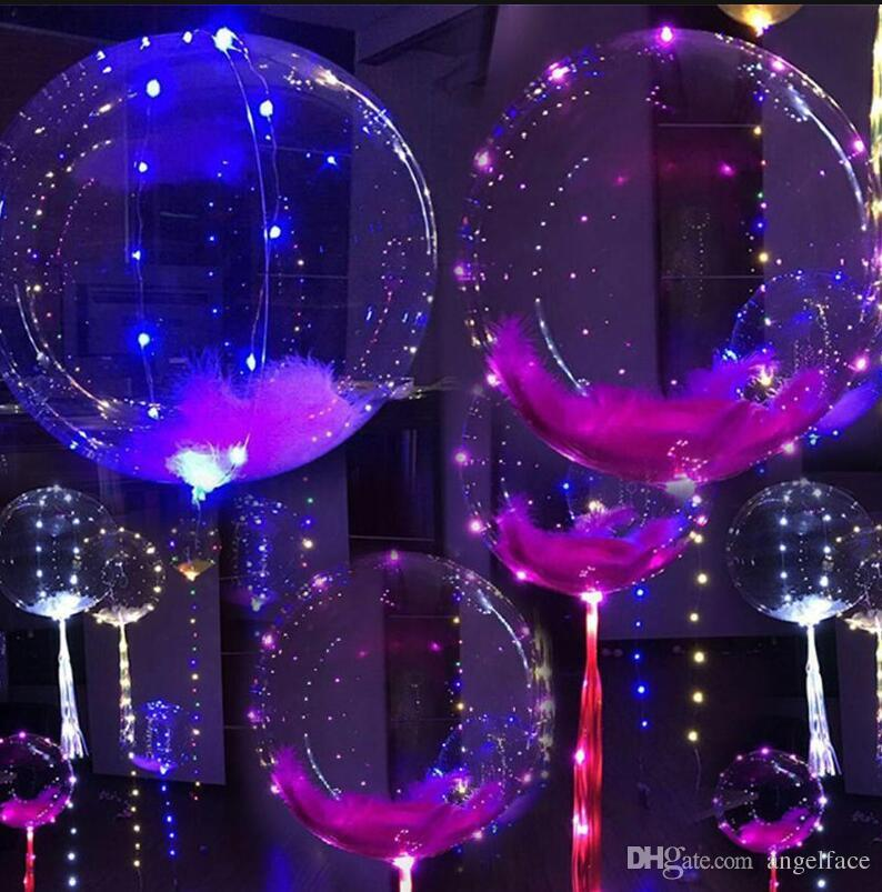 Light Up Toys LED String Lights Flasher Lighting Balloon wave Ball 18inch Helium Balloons Christmas Halloween Wedding Decoration Toys Gift