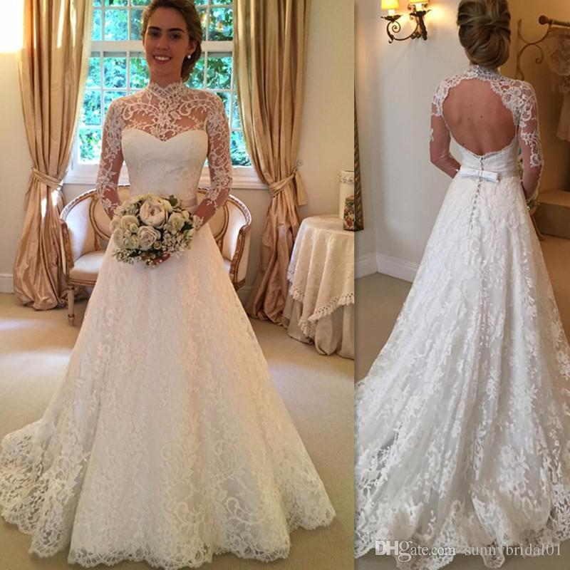 Discount 2017 Sheer Lace Wedding Gowns Ivory Open Back A Line Long Sleeve Bridal Dresses For Brides High Neck Western Style Robes De Mariage