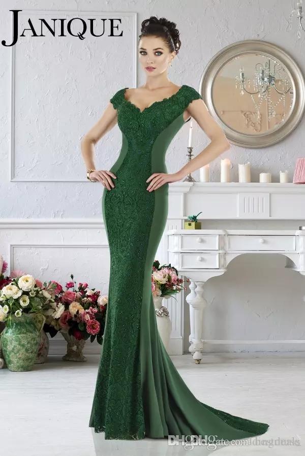 Janique 2017 Emerald Green Mermaid Evening Dresses Formal V-Neck Lace Applique Short Sleeves Mother Evening Prom Dresses