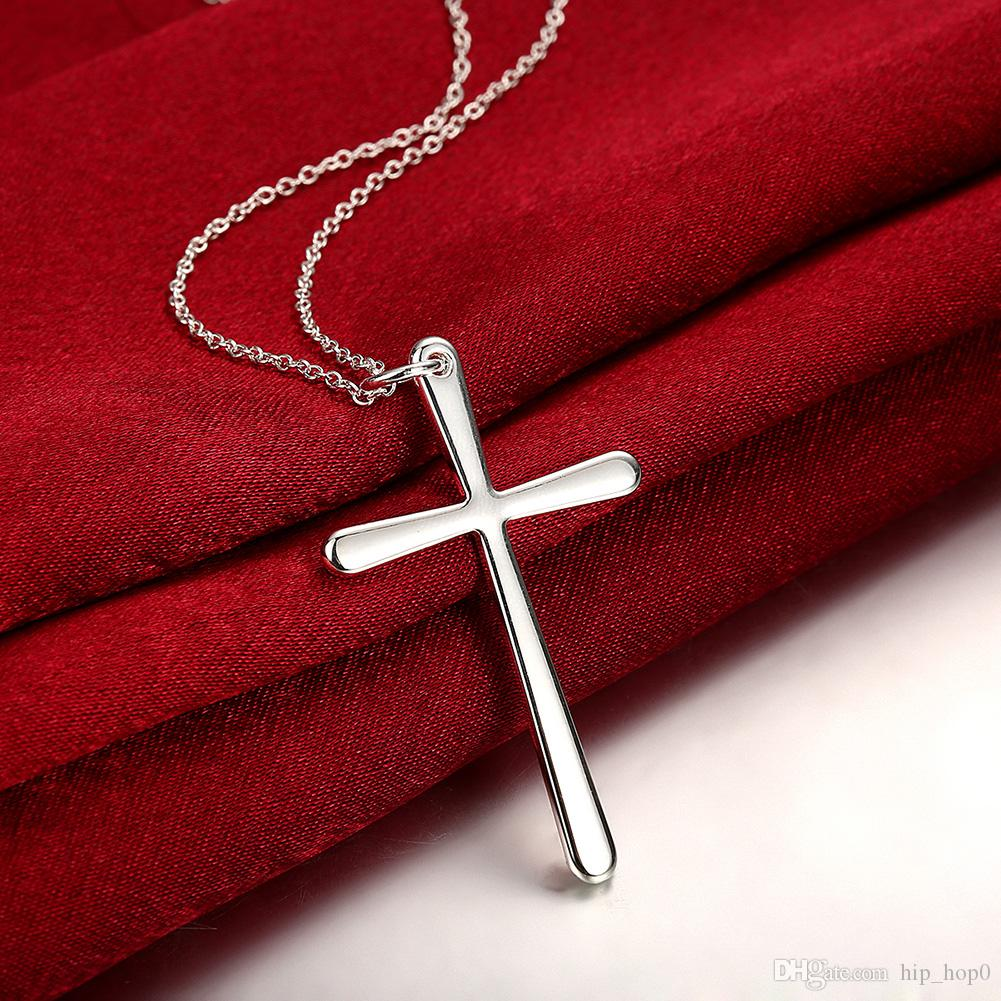 Europe Trade Statement 925 Silver Jewelry Men's Jesus Cross Pendant Necklace Classic Simplicity Chain Necklace For Women Men